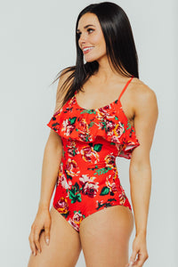 Red Floral Ruffle One Piece - Large