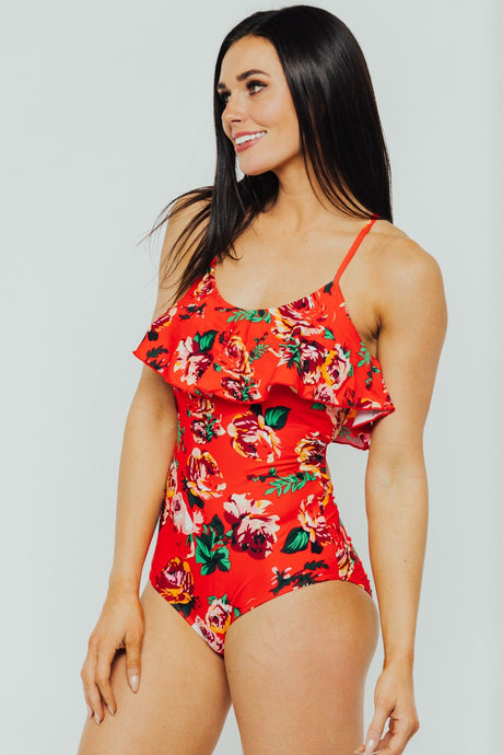 Red Floral Ruffle One Piece