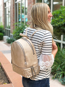 Leather Multiple Closure Backpack