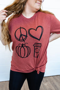 Peace, Love, Pumpkin Spice Graphic Tee