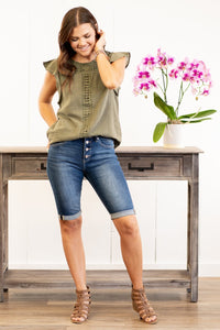 Exposed Button Fly Bermuda Shorts