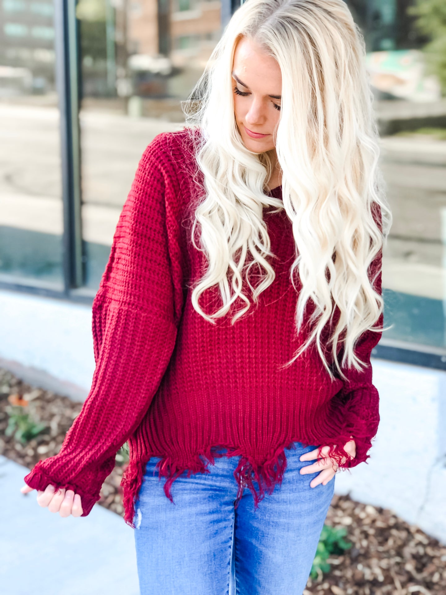 Commitment Frayed Sweater - Burgundy
