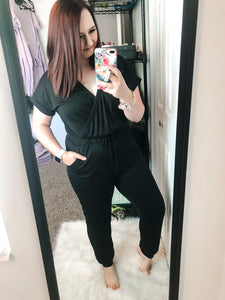 V-Neck Jogger Jumpsuit