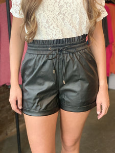 Faux Leather Paperbag Shorts (3 Colors)