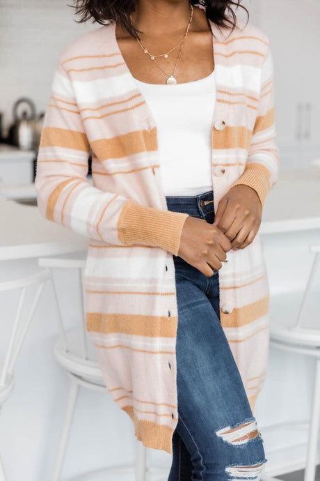 Striped Carmel Cardigan