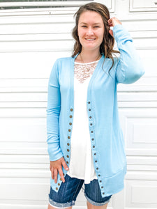 Snap Cardigan - Baby Blue