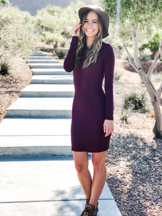 Long Sleeve Fitted Bodycon - Plum