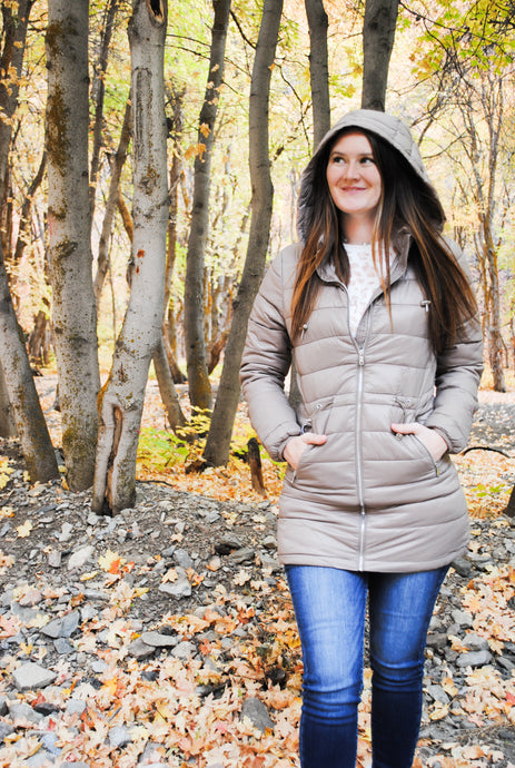 Long Line Padded Puffer Coat - Taupe