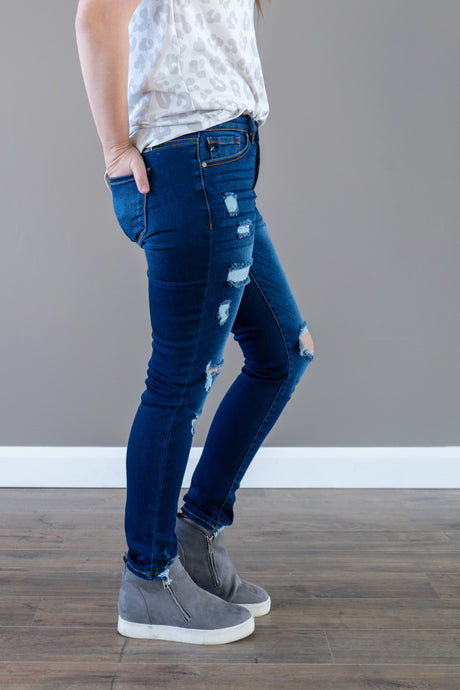 Emma High Rise Distressed Skinny