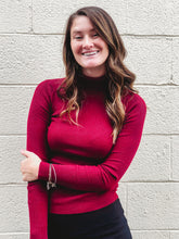 Long Sleeve Ribbed Turtle Neck in Deep Red