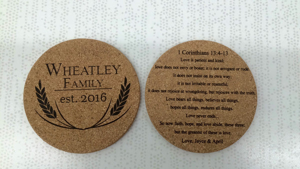 Cork Coasters, 4 - Pack