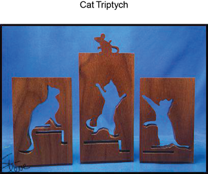 1286, Cat Triptych, 5.75 in. x 7.75 in.