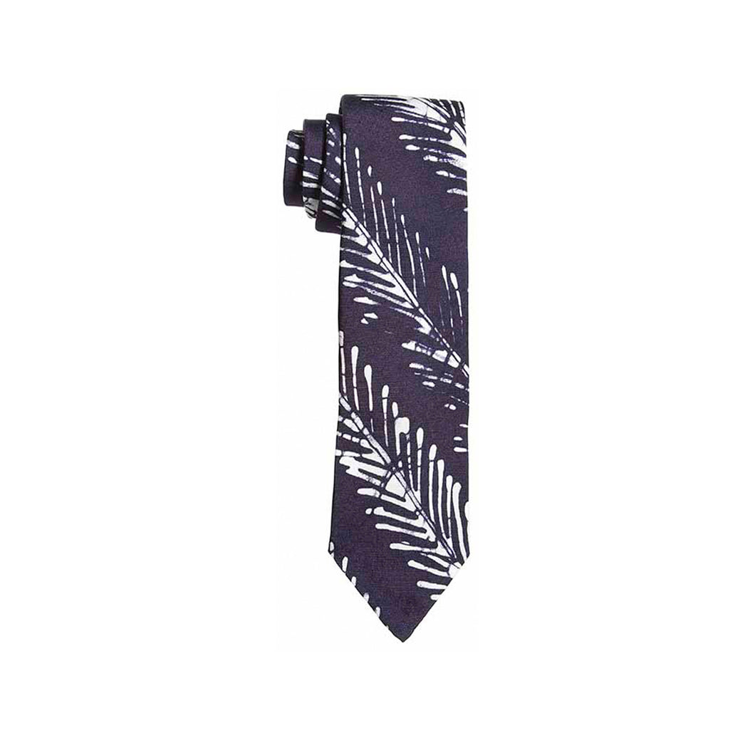 Post Imperial Indigo Fishbone Striped Adire Tie