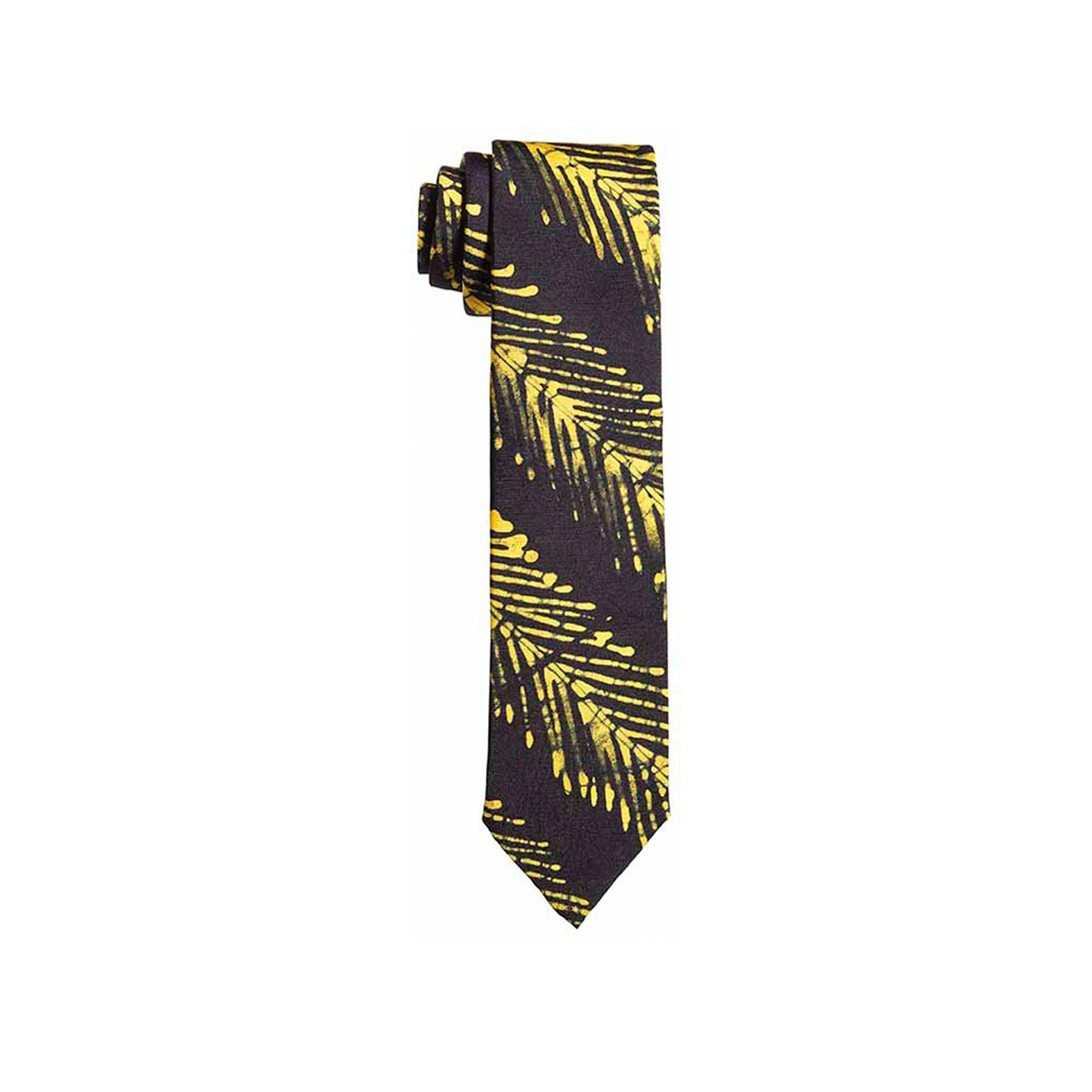 Yellow Fishbone Striped Adire Tie - Post Imperial - OXOSI
