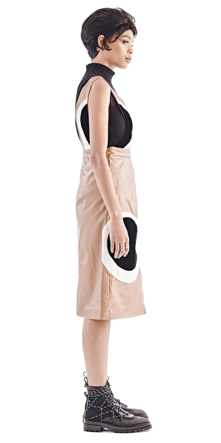 Brown Leather Eyes Pinafore Dress - Maki Oh - OXOSI