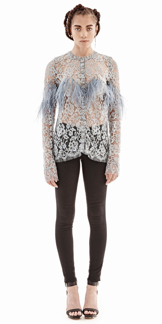 Chantilly Lace Wavy Feather Blouse