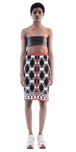 Red Trim Patterned Skirt