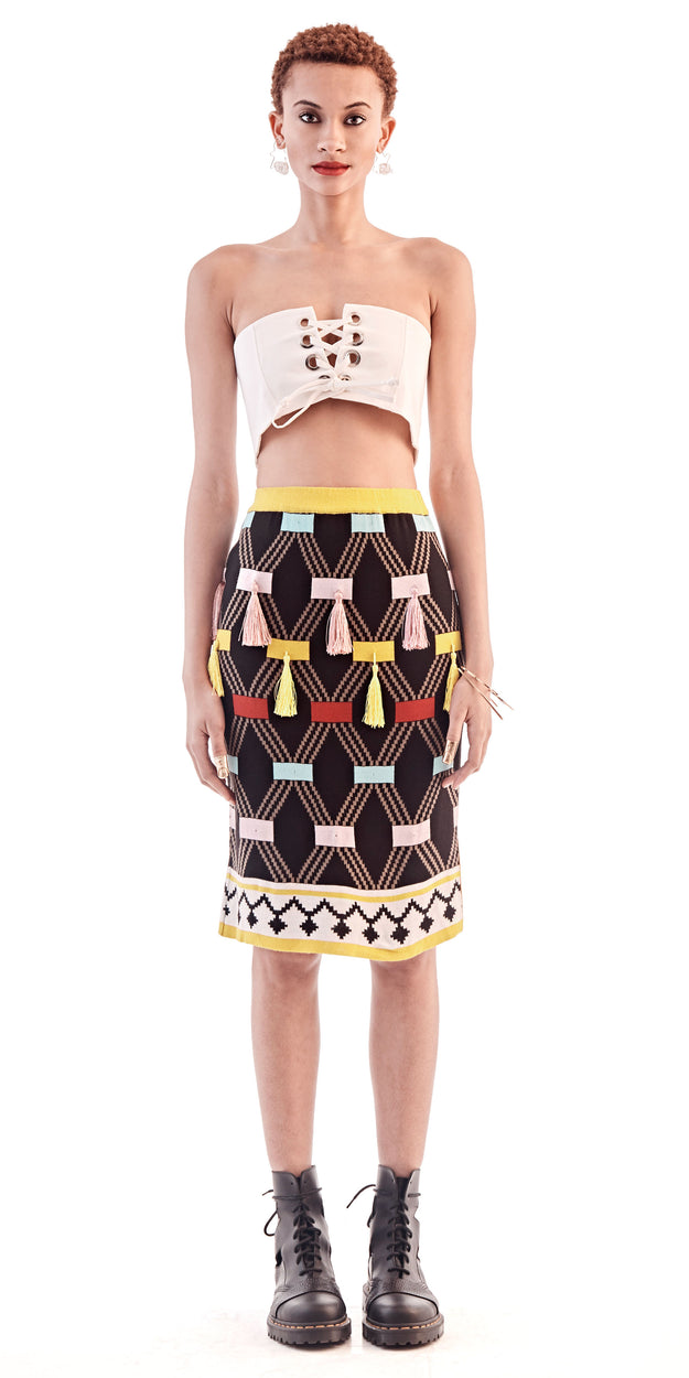 Yellow Patterned Tassel Skirt - MaXhosa - OXOSI
