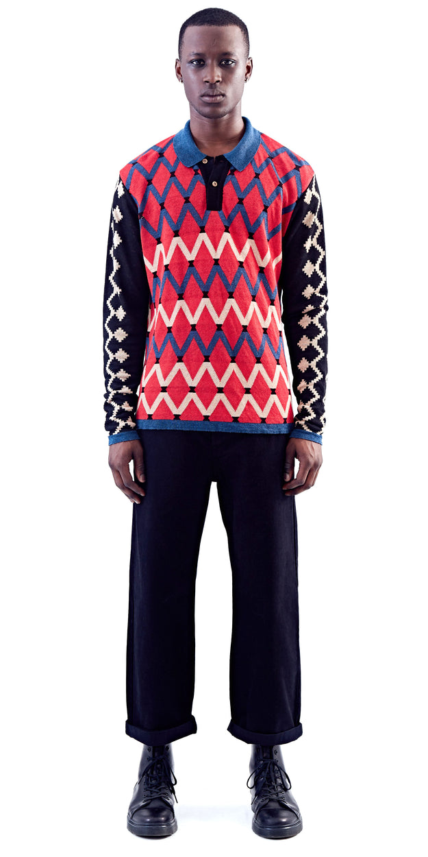 Red Pattern Long Sleeve Polo - MaXhosa - OXOSI