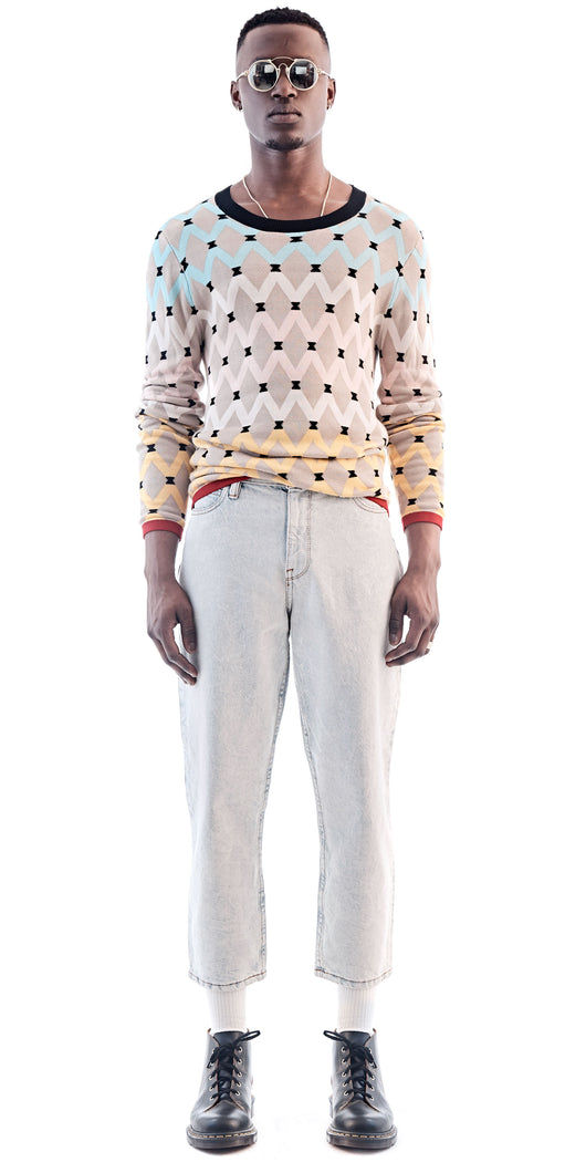 Beige Patterned Crew Neck Sweater