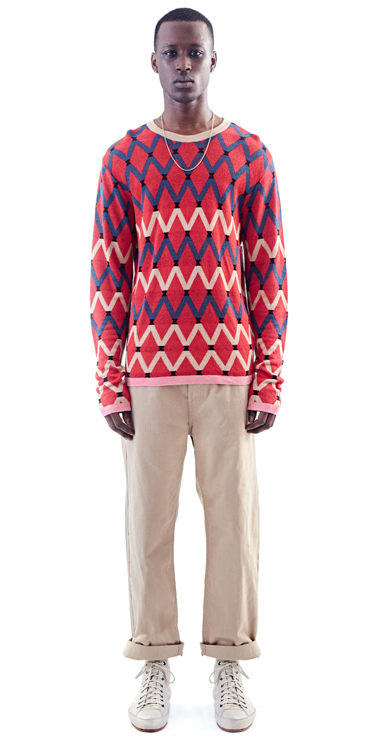 Red Patterned Crew Neck Sweater