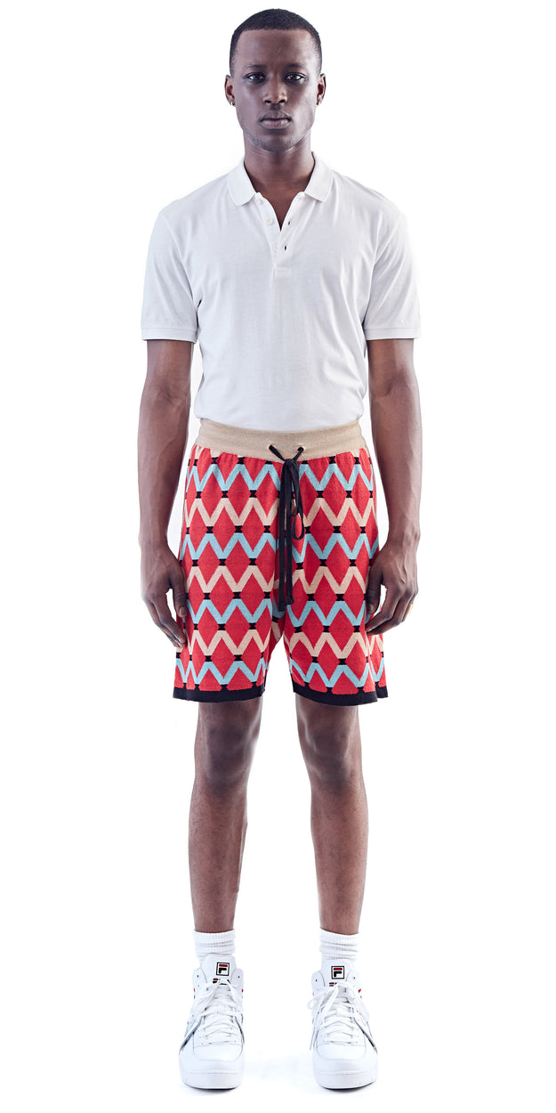 Red Patterned Knit Shorts - MaXhosa - OXOSI