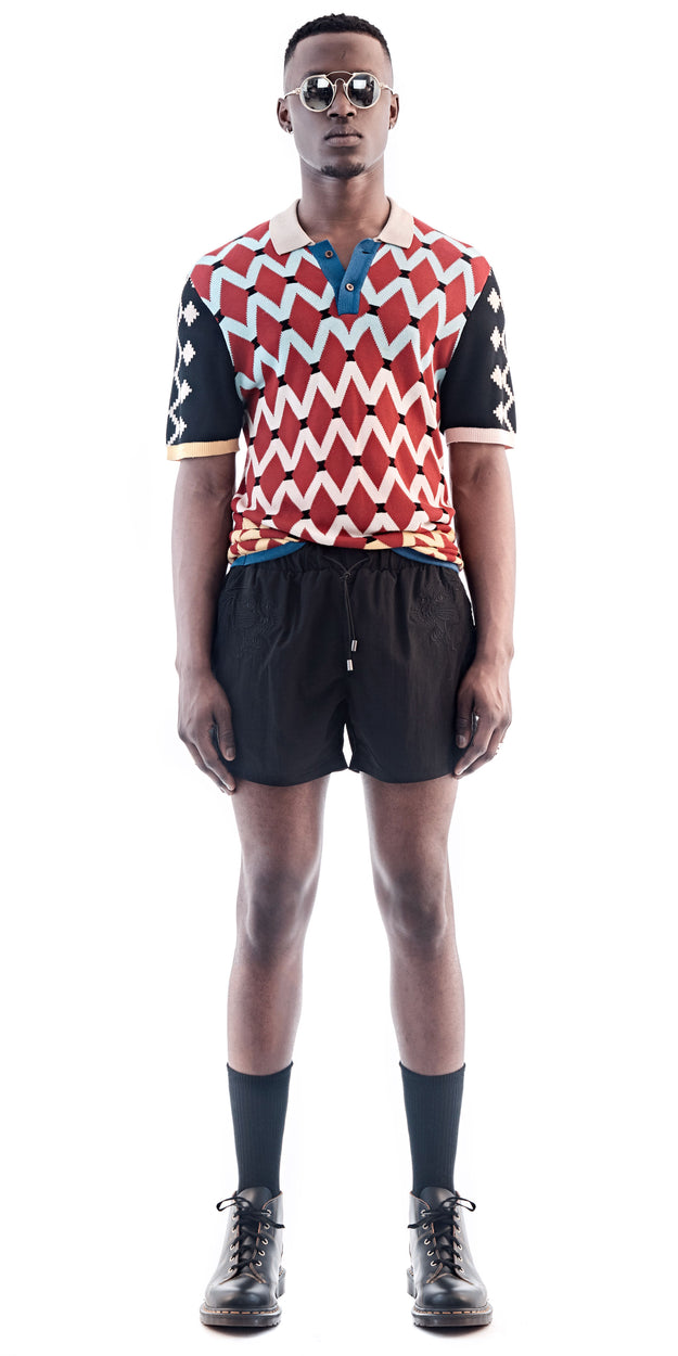 Red Patterned Short Sleeve Polo Shirt - MaXhosa - OXOSI