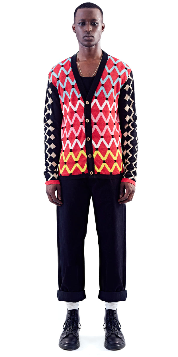 Red Patterned Cardigan - MaXhosa - OXOSI