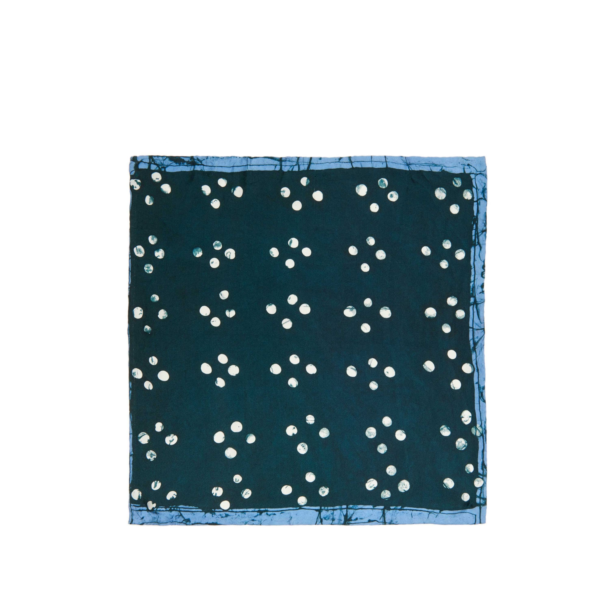 Green Cross Dot Adire Pocket Square
