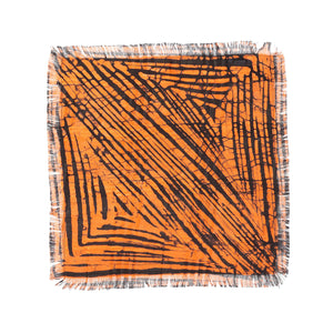 Post Imperial Orange Split Square Motif Pocket Square
