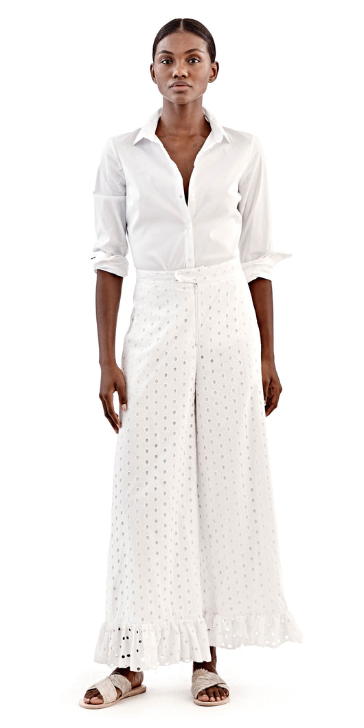 William Okpo White Eyelet Jazz Pant