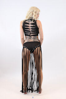 Two Piece Fringe Skirt With Crop Top - burningbabeclothingco