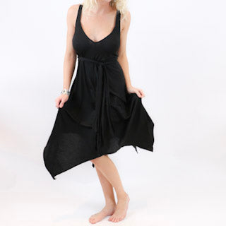 Romantic Flowing Wrap Black Dress - burningbabeclothingco
