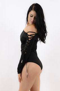 Bodysuit With Lace Up Sleeves - burningbabeclothingco