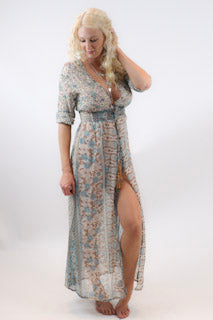 Paisley Button Up Dress - burningbabeclothingco