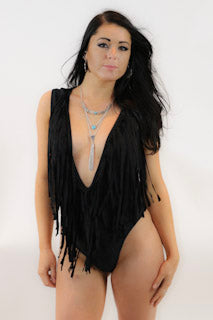Deep V Fringe Bathing Suit - burningbabeclothingco