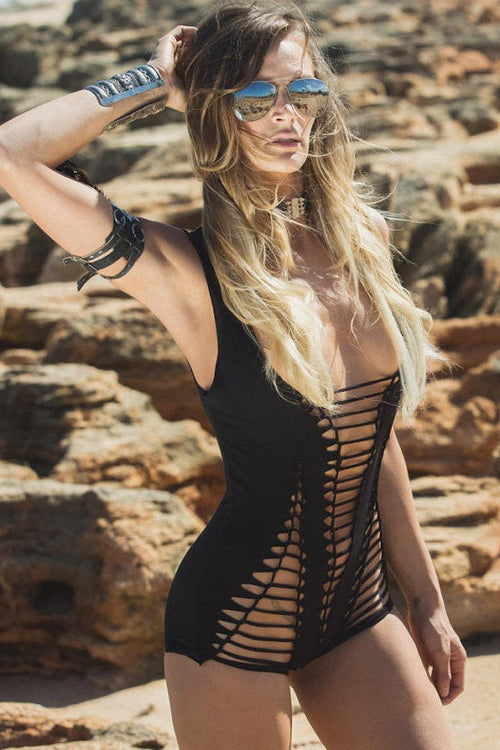 Black Braided Bodysuit - burningbabeclothingco