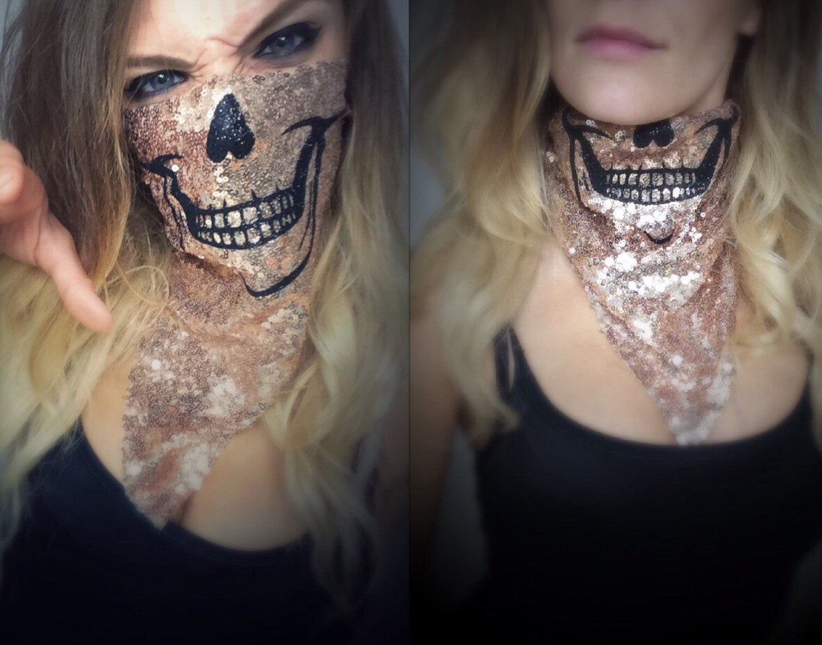 Glitter Skull Mask - burningbabeclothingco