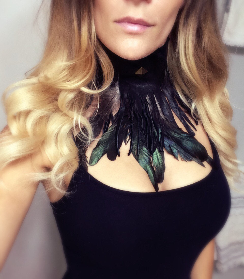Feather Leather Fringe Choker - burningbabeclothingco