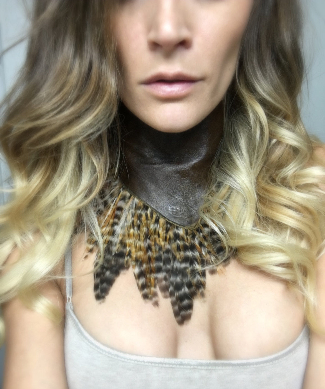 Feather Torn Leather Choker - burningbabeclothingco