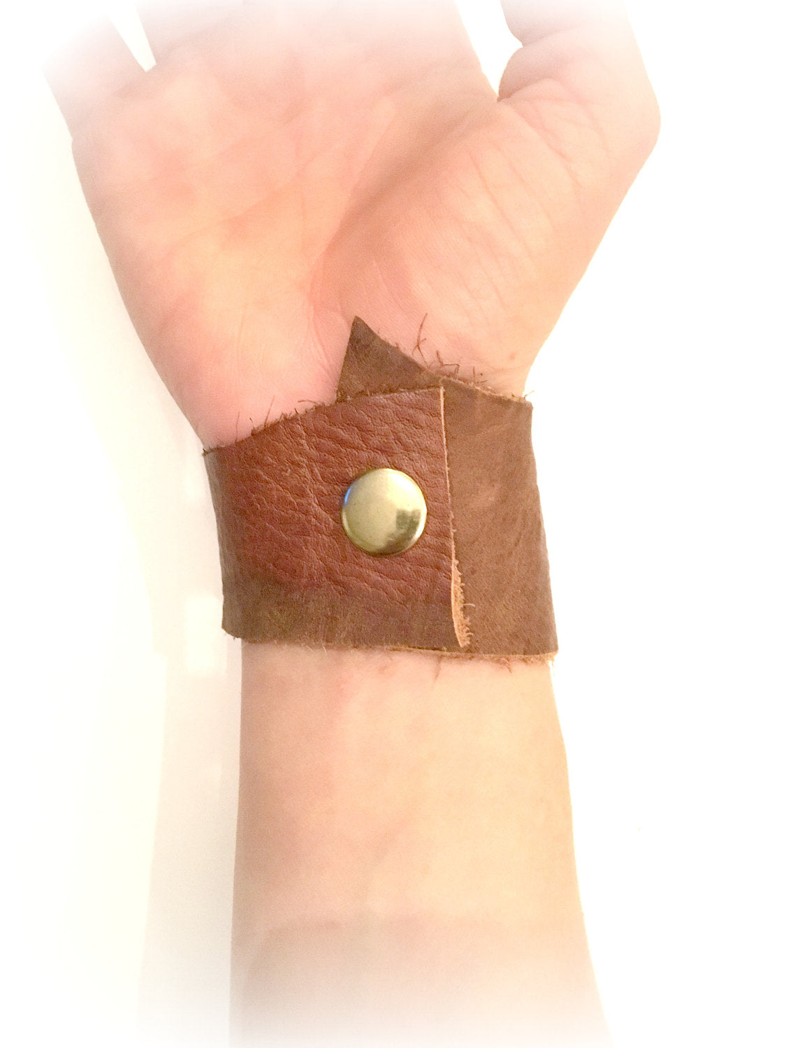 Handmade Torn Leather Cuff - burningbabeclothingco