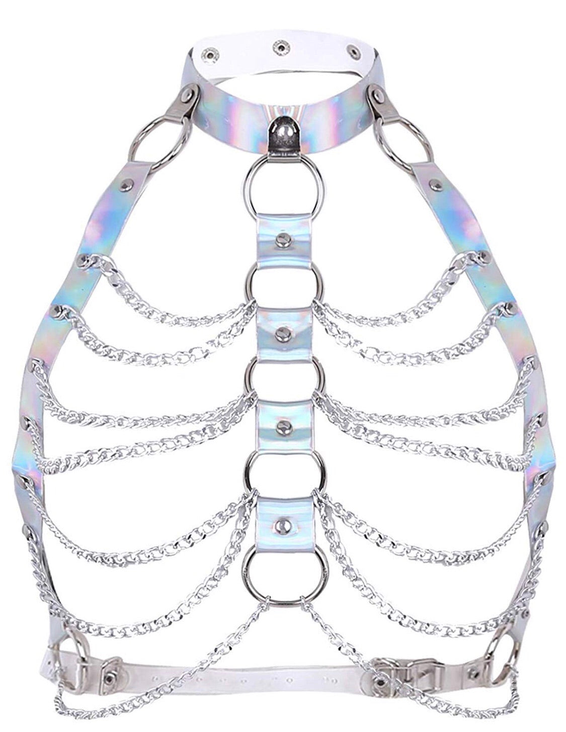 Chain Halter Holographic Top - burningbabeclothingco