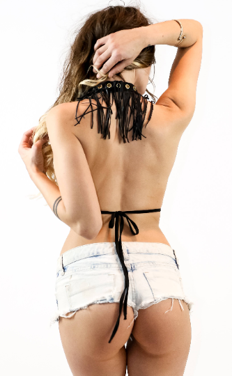 Mad Max Style Lace Up Fringe Top - burningbabeclothingco