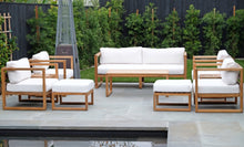 10 pc Venice Teak Deep Seating Set with Coffee Table. Sunbrella Cushions