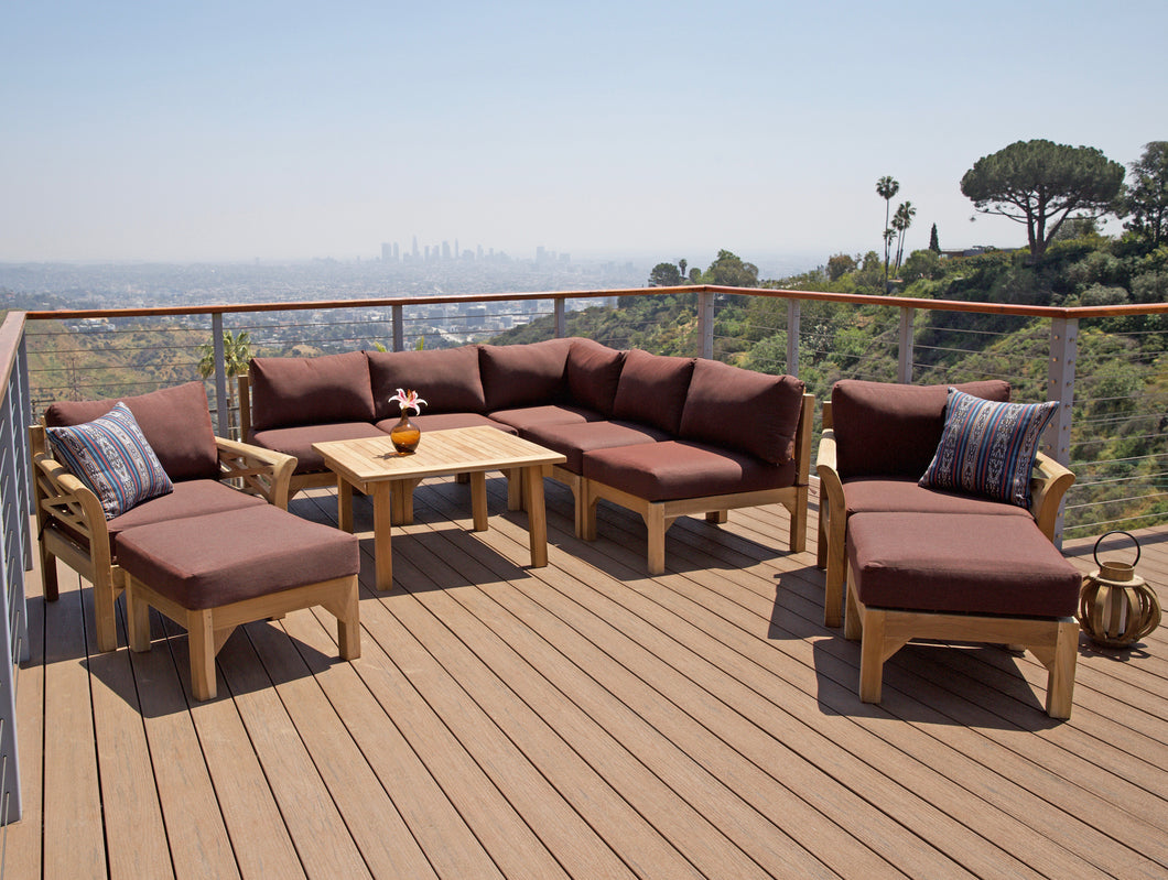 10 pc Monterey Teak Sectional Seating Group with 36