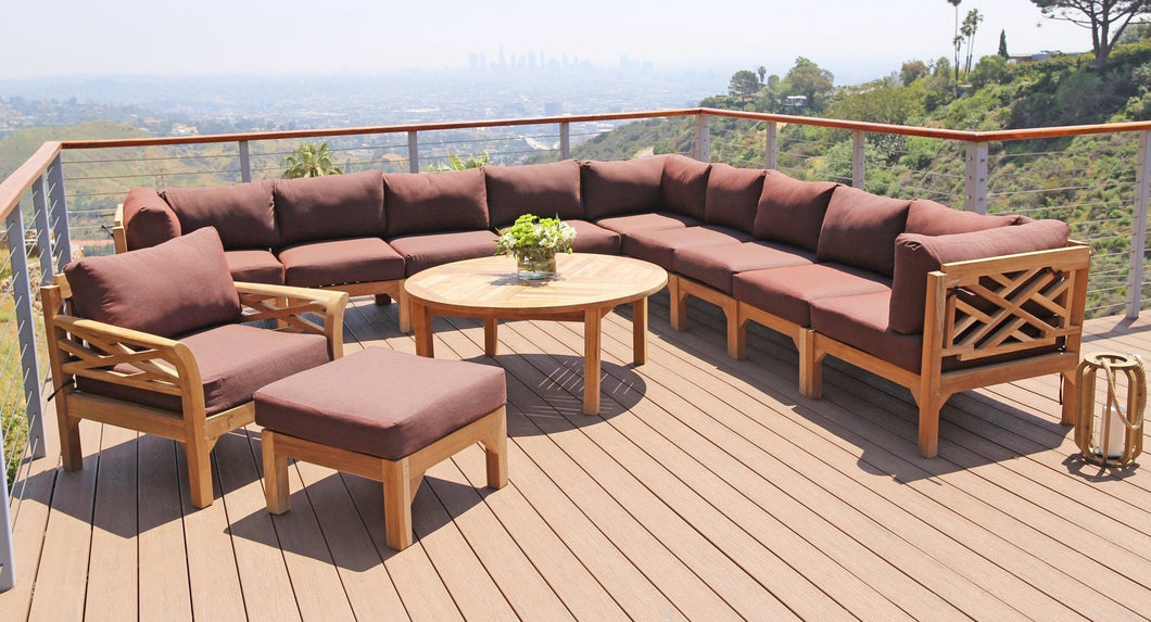 12 pc Monterey Teak Sectional Seating Group with 52
