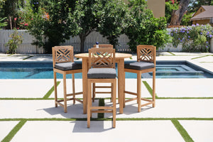 "5 pc Monterey Teak Bar with 40"" Round Bar Table. Sunbrella Cushion."