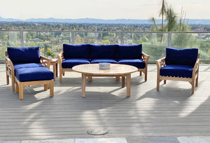 "6pc Monterey Teak Seating Group with 52"" Chat Table. Sunbrella Cushion."