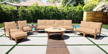 "7pc Huntington Teak Deep Seating Deluxe Sofa Set with 52"" Chat Table. Sunbrella Cushion."