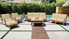"7 pc Huntington Teak Deep Seating Sofa Set with 36"" Chat Table. Sunbrella Cushion."